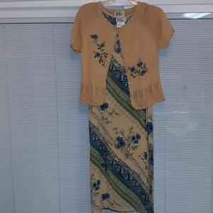 R & K originals beige and blue dress